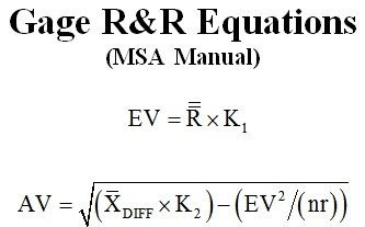 Gage RR Equations